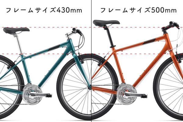 クロスバイクのフレームサイズの種類例